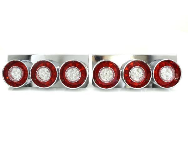 トラック フルLED 24V ロケット テールランプ 3連 丸形 丸型 紅白 赤/白 レッド/ホワイト 左右セット【トラックテールランプ テールライト ダンプ カスタム パーツ レトロ 標準 中型車 大型車 4t/4トン 10t/10トン】