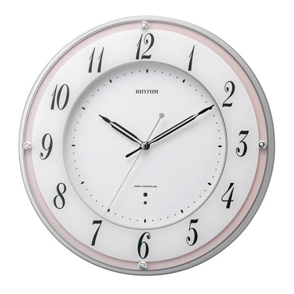 リズム RHYTHM 掛け時計 ミレディローズ 電波時計 8MY498SR13 ホワイト/ピンク