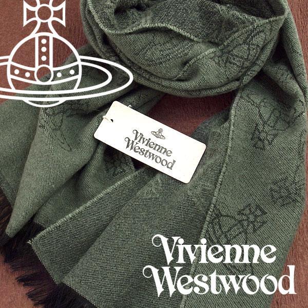 【送料無料】Vivienne Westwood 2017年新作 ヴィヴィアンウエストウッド ヴィヴィアン ストール レディース オーブロゴ柄 グリーン VV-M201-GREEN