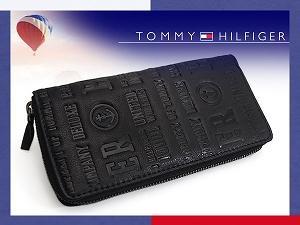 TOMMY HILFIGER トミー ヒルフィガー 本革ウォレット 小銭入れ付き長財布 ブラック 0092-5846-01 31TL13X026-001【ネコポス不可】