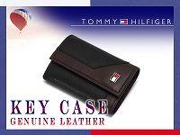 【TOMMY HILFIGER】トミーヒルフィガー 本革/レザー キーケース 6連フック ブラック×ブラウン 0094-4154-01【あす楽】