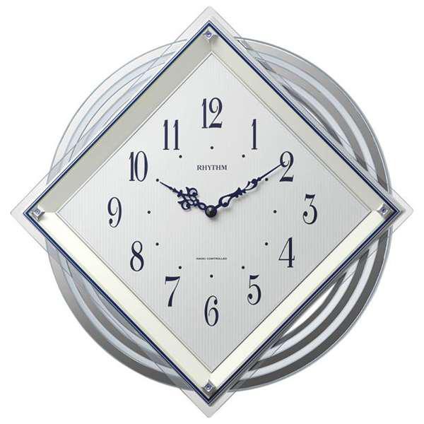 【RHYTHM】リズム時計 ビュレッタ 電波時計 アナログ 電池式 掛け時計 4MX405SR03