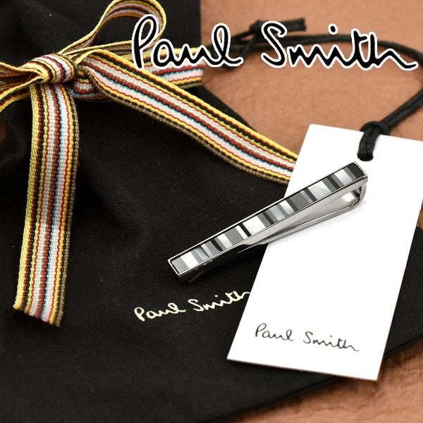 【ネコポス送料無料】【PAUL SMITH】ポールスミス ネクタイピン シルバー×モノトーン ストライプ柄 M1A-TPIN-AMOPL