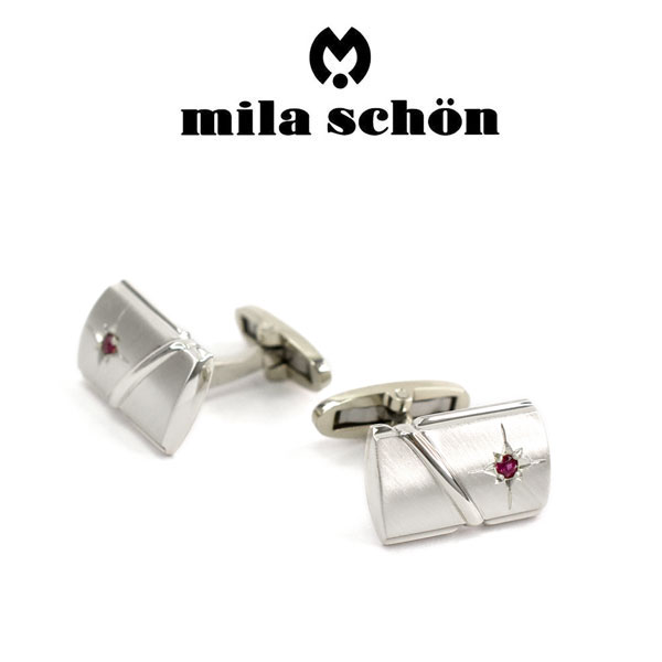 【mila schon】ミラショーン カフス 専用ボックス付き ルビー MSC20293R