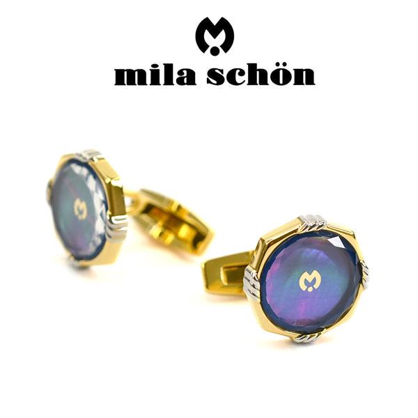 【mila schon】ミラショーン カフス 専用ボックス付き 夜光貝・ガラス MSS115