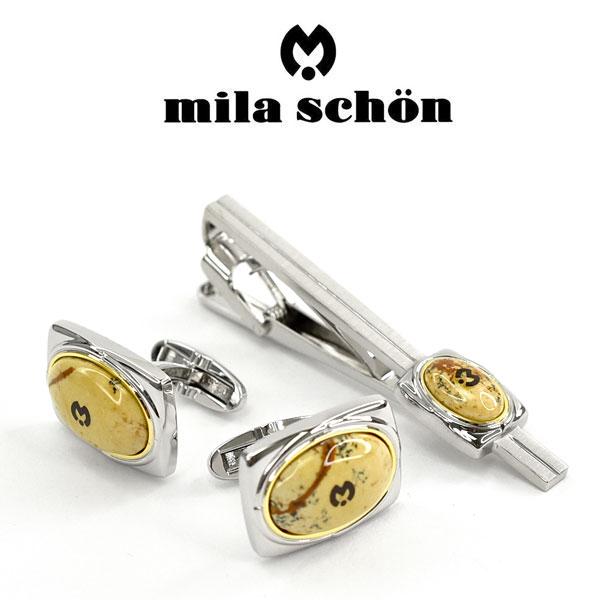 【mila schon】ミラショーン カフス ネクタイピンセット 専用ボックス付き ピクチャー・ジャスパー MST8004-MSC15004