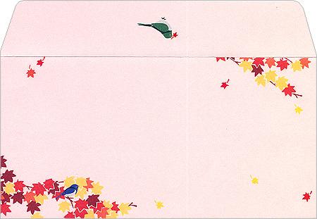 楽天市場封筒 森の秋迎え 6枚 Ev 462紅葉のイラストが秋らしい封筒