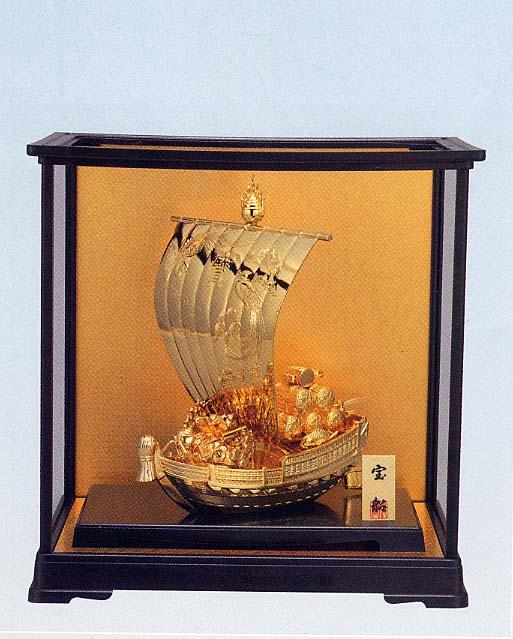 開運 鳳凰 宝船 合金製(H33.5cm、純金メッキ)<開運・幸運のインテリア置物>PCケース入り 宝舟