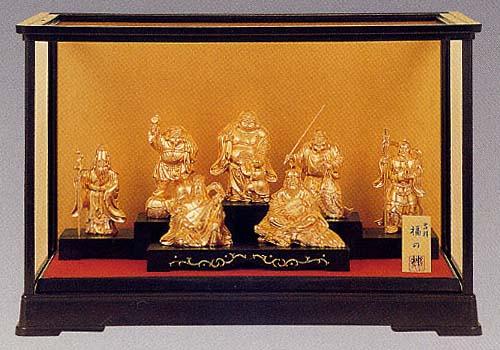 開運吉祥 七福神 (純金メッキ)<開運・幸運のインテリア置物> ケース付