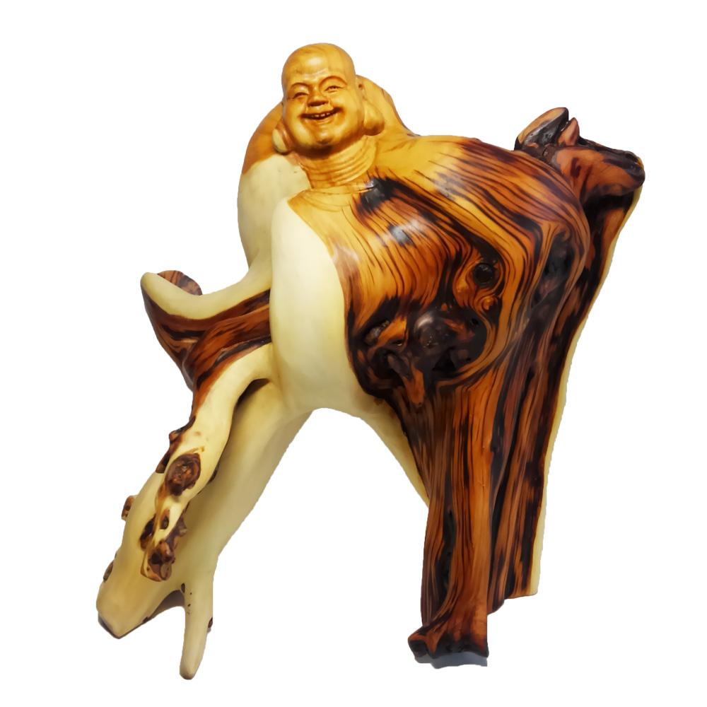 【現品限り】天然 崖柏木 彫り 布袋像 (高さ約28.0cm)<仏像・開運縁起物・幸運置物> 布袋様の置物 七福神 置物 木彫置物 ひょっこりはん 布袋 崖伯 布袋尊 契此 定応大師 長汀子 釈契此