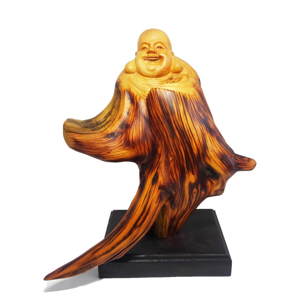 【現品限り】天然 崖柏木 彫り 布袋像 (高さ約28.5cm)<仏像・開運縁起物・幸運置物> 布袋様の置物 七福神 置物 木彫置物 崖伯 布袋尊 契此 定応大師 長汀子 釈契此