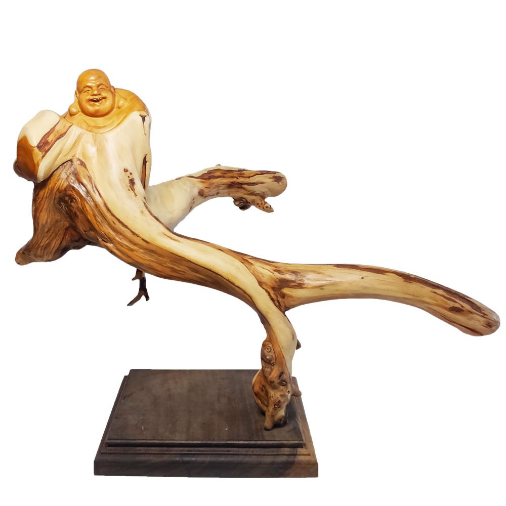【現品限り】天然 崖柏木 彫り 布袋像 (高さ約34.5cm)< 仏像 開運 縁起物 > 布袋様の置物 七福神 置物 木彫置物 彫刻 桧 ヒノキ科 檜 桧木 ヒノキ