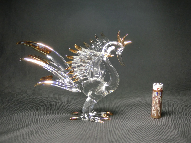 水晶凤凰 (大) 高度 12 厘米 < 风水玩具,玩具好运,好运公仔 > 手工和凤凰好运雕像 (何哦)