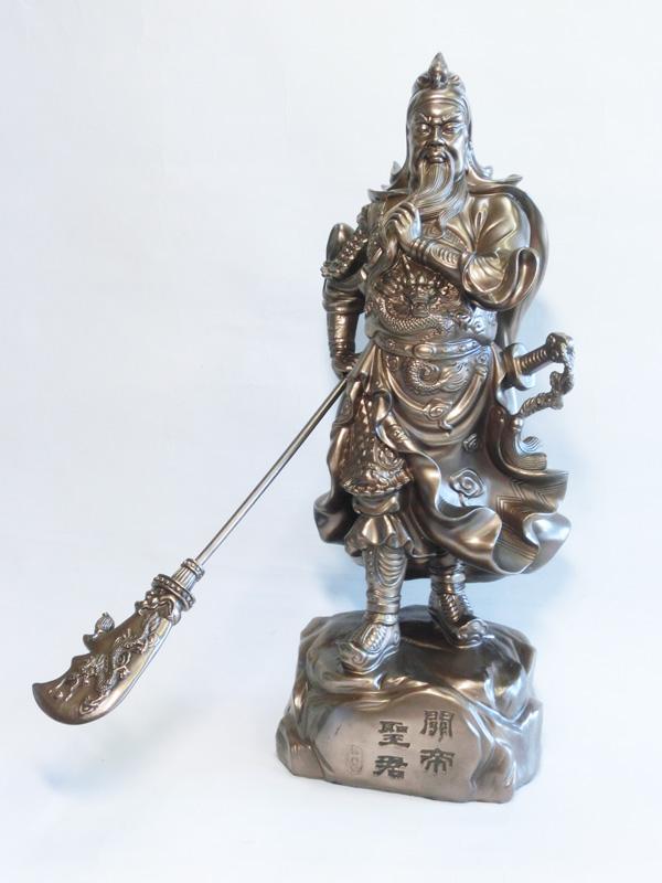 ズッシリ重量!ずっしり幸運!?銅練樹脂製 特大 関羽像 (高さ約54.0cm)<風水グッズ・開運グッズ・幸運の置物>