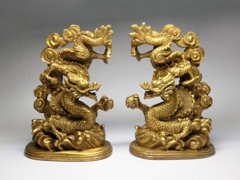 銅製 玉持ち 双龍 セット(銅製) <風水グッズ・開運グッズ・幸運の置物> 最上位の龍の証5本指のツインドラゴン ☆ 龍神様の置物 龍神