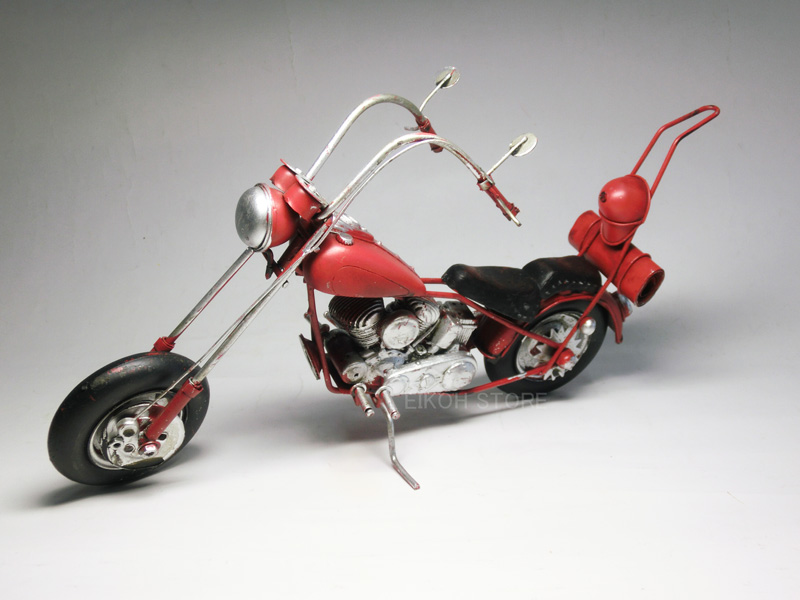 アンティーク調 アメリカンバイク (赤) チョッパーハンドル ☆ ブリキのおもちゃ 【 インテリアカー 歴史ある名車 】 USA バイク オートバイ ハーレータイプ ハーレーダビッドソン 模型