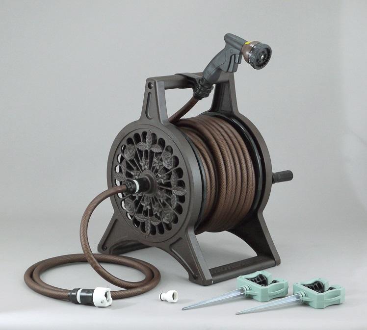 ブロンズリール 30m ブラウン 三洋化成 ホースリール 英国ガーデン風デザインの本格派 アルミ鋳物製