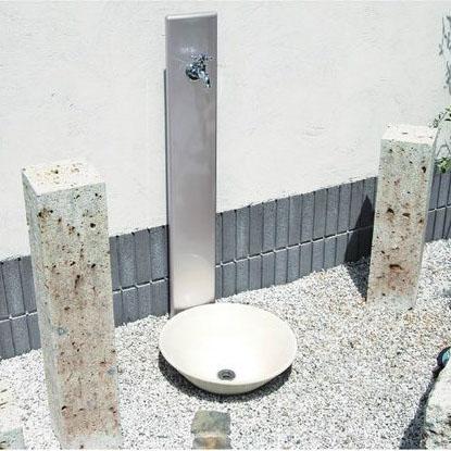 立水栓ユニット フォギータイプA(補助蛇口仕様) ナチュラルモダンな立水カバー※メーカー出荷の為商品代金引換不可
