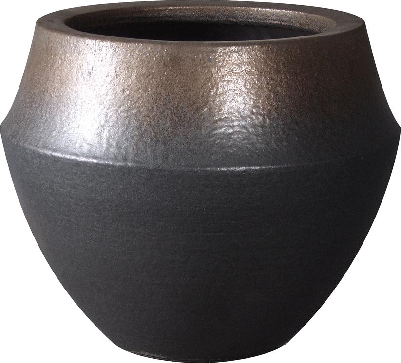バレル 10号用 植木鉢 ブラウンゴールド 信楽焼・プラスガーデン