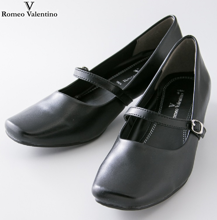 万能パンプス ロメオバレンチノ RomeoValentino 婦人靴 レディース ローヒール パンプス 3E ブラック 黒 VB3371 特価キャンペーン 22cm 小さいサイズ 25cm 大きいサイズ オフィス 就活 通勤 低反発 ご予約品 やわらかい 静音 3.5cm ビジネス 通学 ストラップ スクエア フォーマル 幅広 リクルート すべりにくい
