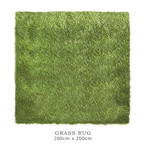 【送料無料】GRASS RUG 芝生モチーフ ラグ マット (200cm×200cm) グラスラグ スクエア