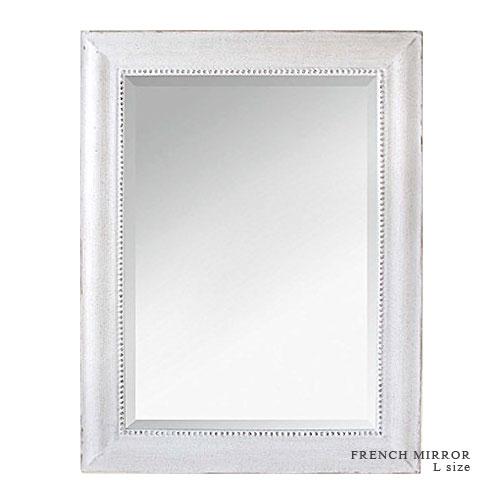 【送料無料】FRENCH MIRROR アンティーク フレンチ ミラー (Lサイズ) W67cm×H86.5cm フレーム ホワイト 木製 壁掛け ウォールミラー 【あす楽対応】