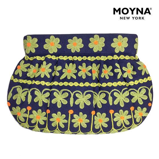 【送料無料】MOYNA(モイナ) フラワー 刺繍 クラッチ バッグ (NAVY×LIME) レディース BAG 【あす楽対応】