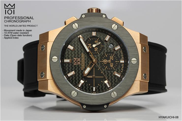 ランキング1位獲得!! HYAKUICHI クロノグラフ 10気圧防水 ビッグバンタイプ メンズ腕時計 10気圧防水 MENS 送料無料 あす楽