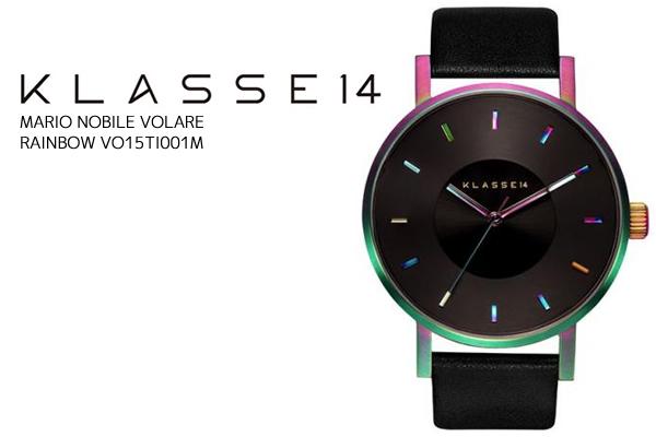 KLASSE14 クラスフォーティーン 腕時計 メンズ 42mm 革ベルト レザー VOLARE レインボー ブラックモデル MENS 男 ウォッチ