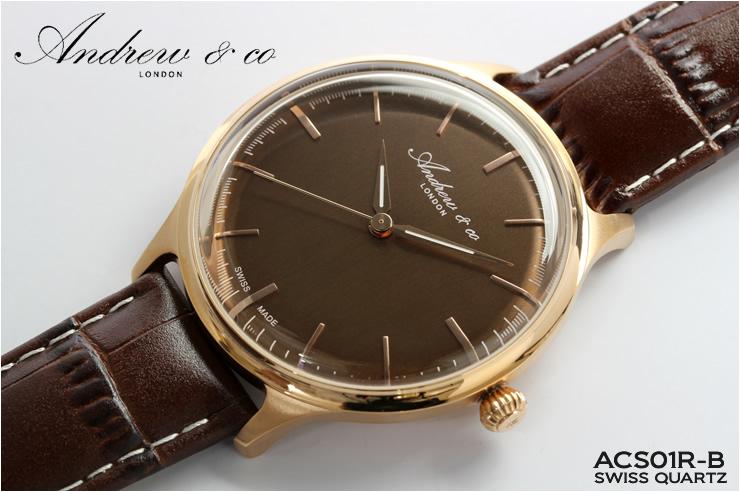 Andrew&co アンドリューアンドコー スイス製 腕時計 メンズ レザーベルト 革 シンプル ブランド メイドインスイス
