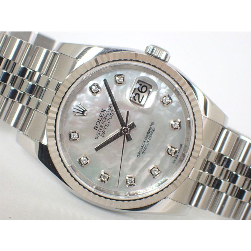 【中古】ロレックス(ROLEX)デイトジャストWGベゼル ホワイトシェル 10Pダイヤ 116234NG 正規品