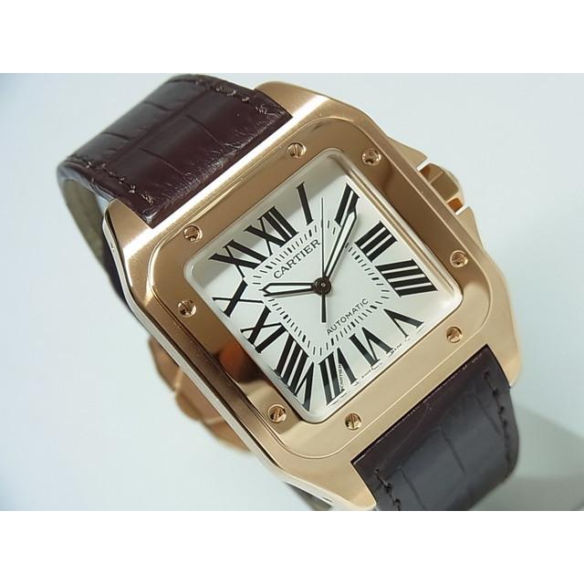 【中古】カルティエ(Cartier) W20095Y1 サントス100 18KPG LMサイズ 革ベルト