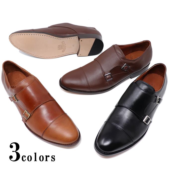 ハンドメイド 本革 メンズ レザーソール ダブルモンク ストラップ ストレートチップ マッケイ製法 革靴 革底 ブラック ブラウン ライトブラウン オイルドレザー ビジネスシューズ カジュアル ビジカジ グッドイヤー 紳士靴 手作り靴