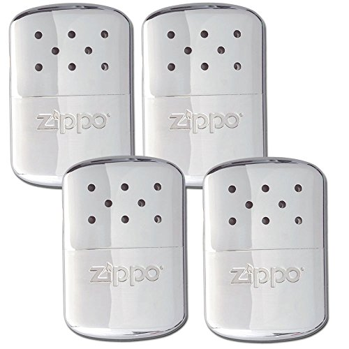 Zippo 4 セット Refillable Deluxe クローム ハンド Warmer w/ ポーチ (海外取寄せ品)
