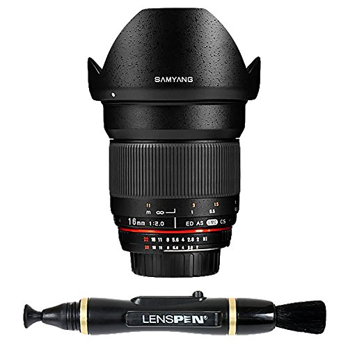 Samyang SY16MAF-N 16mm f/2.0 Aspherical ワイド Angle レンズ with オート Confirm チップ for Nikon (DX) Cameras (海外取寄せ品)