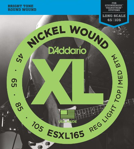 D'Addario ESXL165 Nickel Wound Bass Guitar ストリング with ロング Scale and Double Ball エンド, Medium, 50-105 (海外取寄せ品)