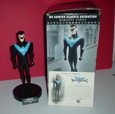 The New バットマン Batman アドベンチャー: Nightwing Statue (Hand-Painted, Cold-キャスト Maquette) (海外取寄せ品)