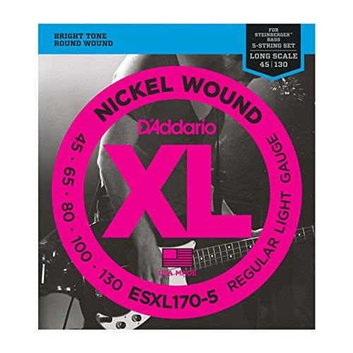 D'Addario ESXL170-5 5 Nickel Wound 5-ストリング Bass Guitar ストリング with ロング Scale and Double Ball エンド, Light, 45-130 (海外取寄せ品)