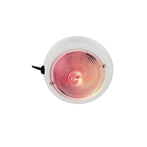 Perko 1263DP1WHT 12V Exterior Surface Mount ドーム Light with レッド/ホワイト Bulbs (海外取寄せ品)