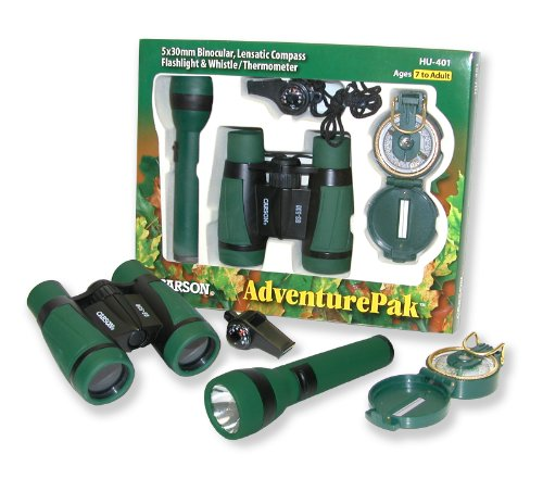 カーソン AdventurePak Containing 5x30 Binocular, Lensatic コンパス, Flashlight, and Whistle/サーモメーター (HU-401) 「汎用品」(海外取寄せ品)