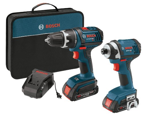 Bosch CLPK234-181 18-Volt Lithium-イオン 2-Tool コンボ キット with 1/2-インチ Compact タフ Drill/Driver, Impact ドライバー, 2 ハイ Capacity Batteries, Charger and ケース 「汎用品」(海外取寄せ品)