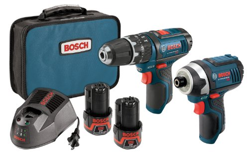 Bosch CLPK241-120 12-Volt マックス Lithium-イオン 2-Tool コンボ キット with 3/8-インチ ハマー Drill and 1/4-インチ Hex Impact ドライバー, 2 Batteries, Charger and ケース 「汎用品」(海外取寄せ品)