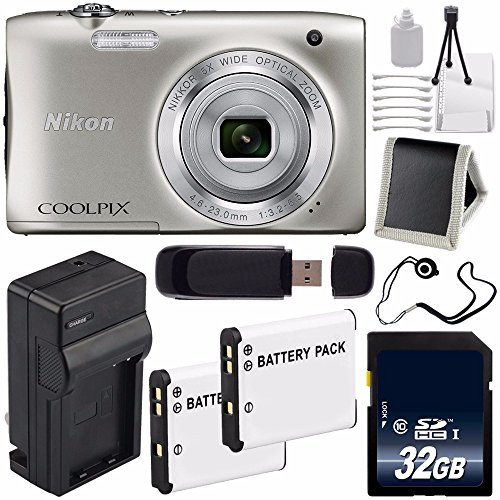 Nikon COOLPIX S2900 デジタル Camera (Silver) International Model No + EN-EL19 リプレイスメント Lithium イオン バッテリー + External Rapid Charger + 32GB SDHC クラス 10 Memory Card + SD Card USB リーダー + Memory Card ウォレッ 「汎用品」(海外取寄せ品)