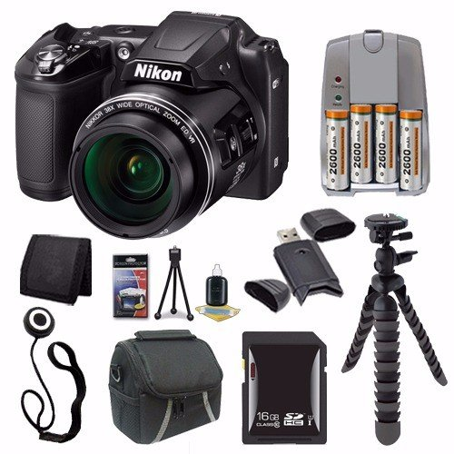 Nikon COOLPIX L840 デジタル Camera (Black) (International Model No Warranty) + 4 AA パック NiMH Rechargeable Batteries and Charger + 16GB SDHC Card + ケース + Saver バンドル 「汎用品」(海外取寄せ品)