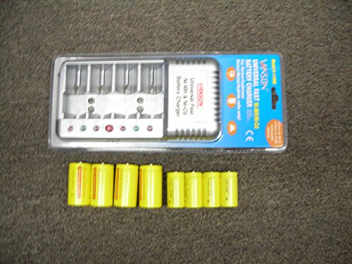 Hitech-V of AA, AAA, C, D,9v(6 slots)Smart charger with Hitech 4 Ni-CD C & 4 D クオリティー Rechargeable Batteries 「汎用品」(海外取寄せ品)
