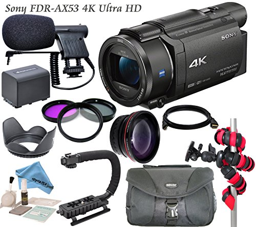 Professional Ultra HD 4K Camcorder バンドル - ソニー FDR AX53 Camcorder: インクルーズ ミニ Condenser Mic, HD ワイド Angle レンズ and more... 「汎用品」(海外取寄せ品)