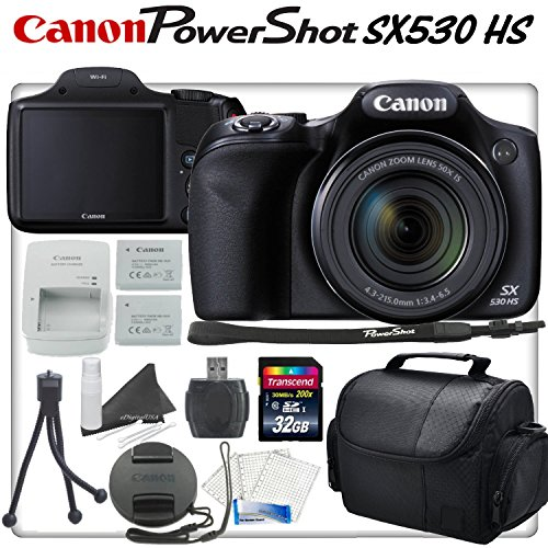 Canon PowerShot SX530 HS 16.0 MP with 50X Optical Zoom, Wi-Fi Enabled and 1080p Full HD ビデオ デジタル Camera, Spare NB-6LH, 32GB ハイ スピード Memory Card, リーダー, Carrying ケース and more... 「汎用品」(海外取寄せ品)