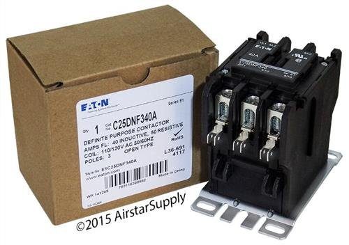 Eaton / カトラー ハマー C25DNF340A 50mm DP Contactor , 3-Pole , 40 Amp , 120 VAC Coil Voltage 「汎用品」(海外取寄せ品)