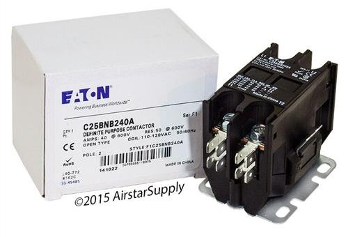 Eaton / カトラー ハマー C25BNB240A Contactor , 2-Pole , 40 Amp , 120 VAC Coil Voltage 「汎用品」(海外取寄せ品)