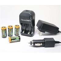 Power2000 XP-123A - (4) CR123A Lithium Rechargeable Batteries & 110/240V Rapid Charger 「汎用品」(海外取寄せ品)